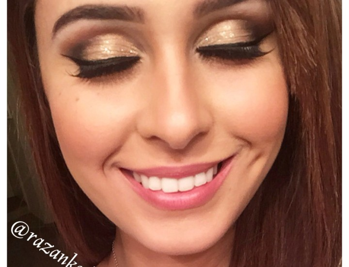 Soft Glittery Gold Smokey Eye